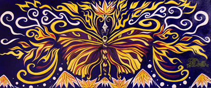 """Fire Butterfly"" 30 x 12 inches Original Acrylic Painting on Canvas by Drea"